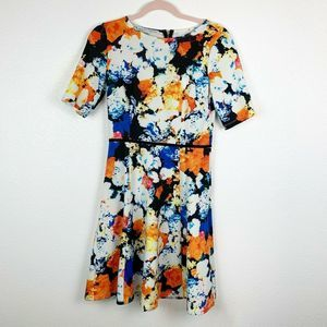 Maggy London Floral Print Dress Fit and Flare 6